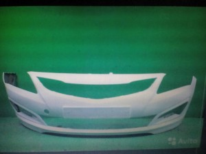 Бампер передний Солярис с 14г белый pgu Hyundai Solaris I Рестайлинг Седан
